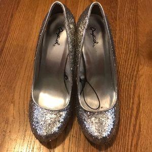 Silver Glitter Heels - Size 7.5
